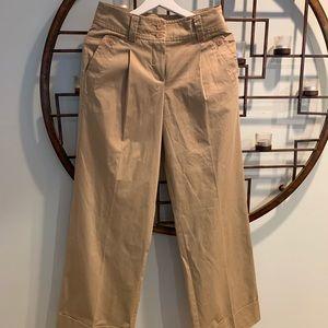 Trina Turk wide leg cuff khaki pants sz 0 new